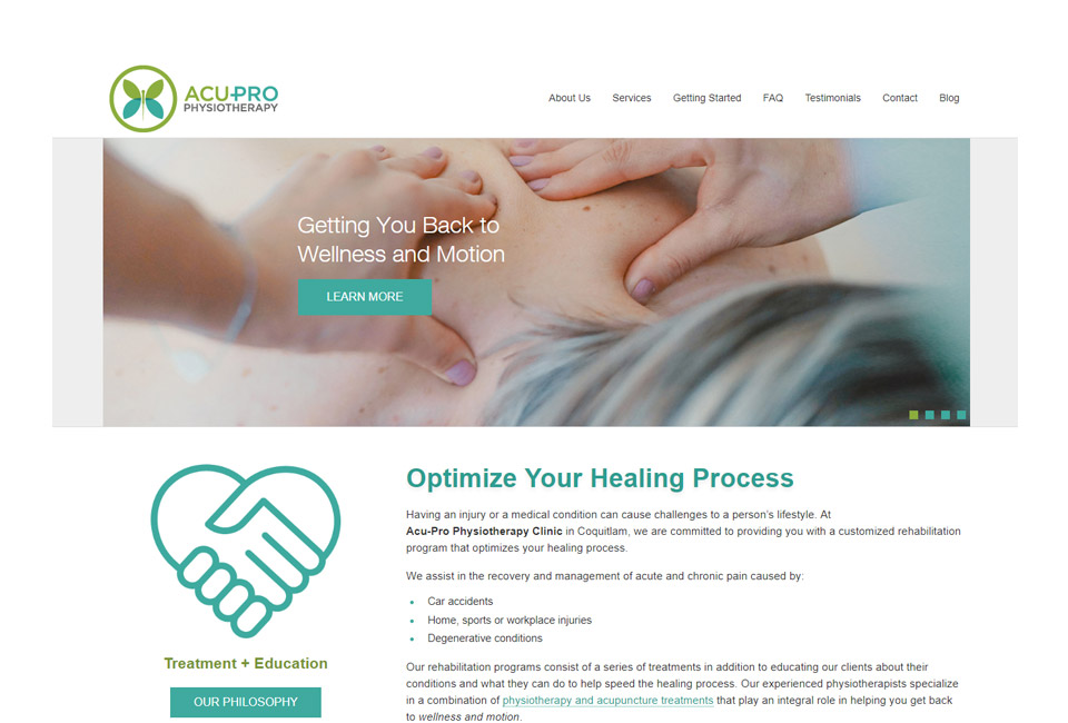 Acu-Pro Physiotherapy website
