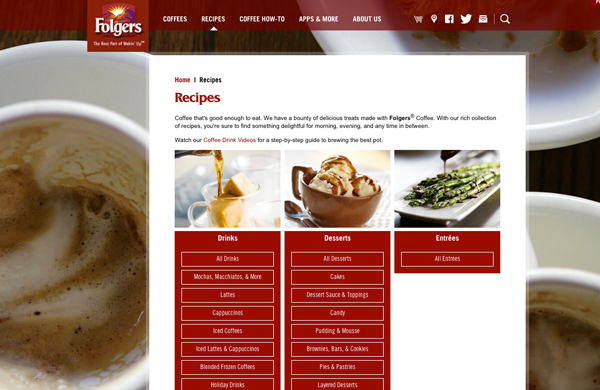 folgers recipe content marketing