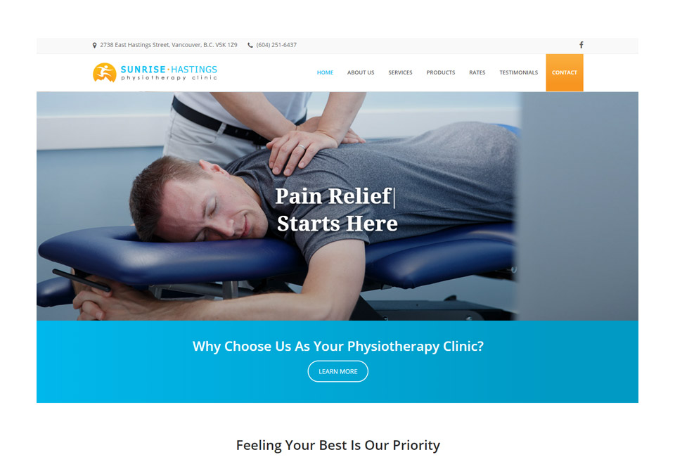 Sunrise Hastings Physiotherapy Front Page